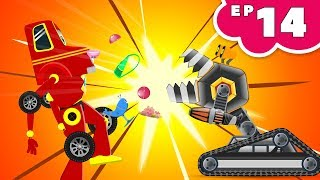 Red Super Car Ricky vs Monster Crusher Machine | Kids Cartoon Episode 14