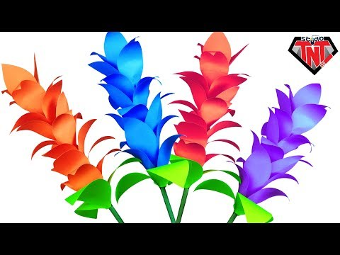 How To Make Beautiful Paper Ginger Flowers    DIY Color Paper Handmade Flower Stick