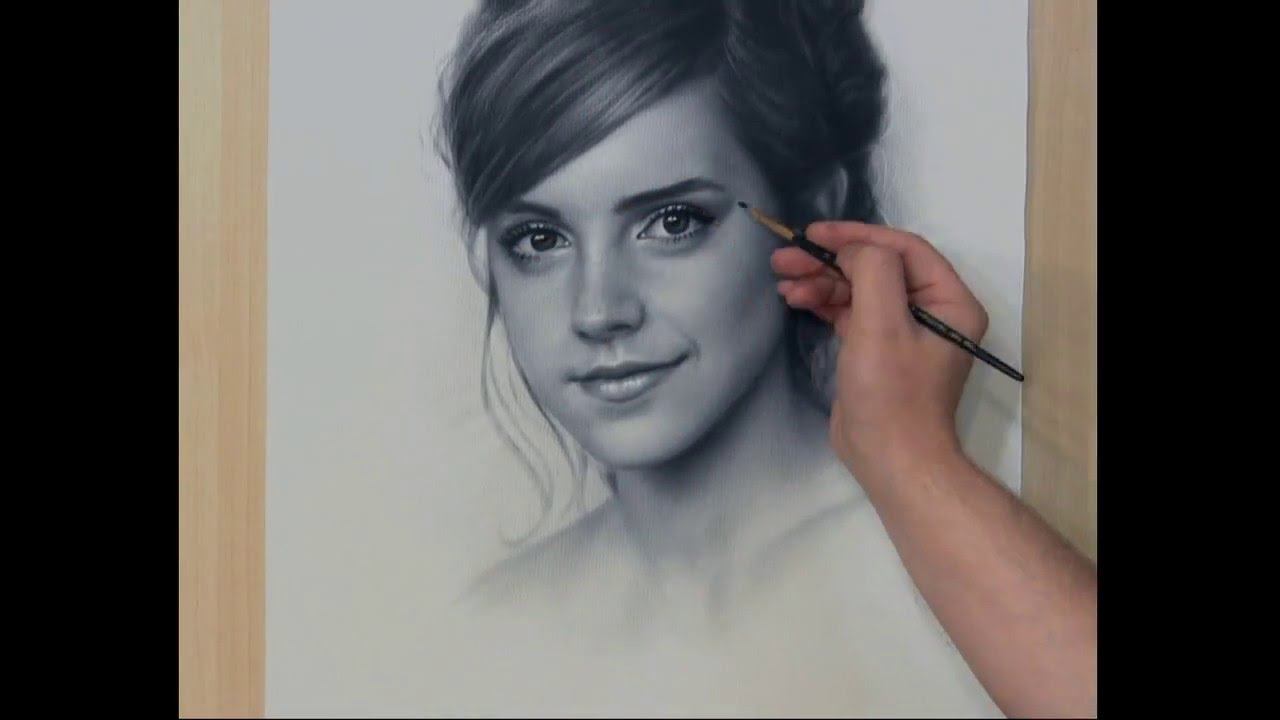 Speed drawing portrait emma watson рисование портрета сухая кист