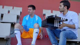 soccer shoes adidas F50 Lionel Messi with blue color