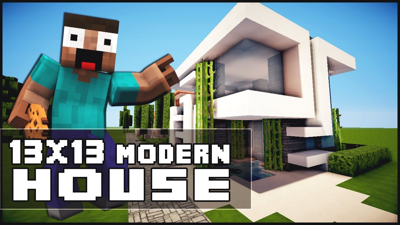 Minecraft house tutorial 13x13 modern house youtube for Minecraft modernes haus 20x20