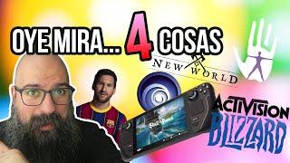 Oye mira 4 cosas - Activision Blizzard demanda acoso, EFootball, New World fire, Bye DRM, Ubi&Bones