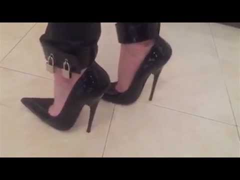 6 inch HIGH HEELS black pumps with pointed toe and padlocks on ...