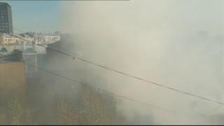 Видео с места пожара на Лубянском проезде в Москве