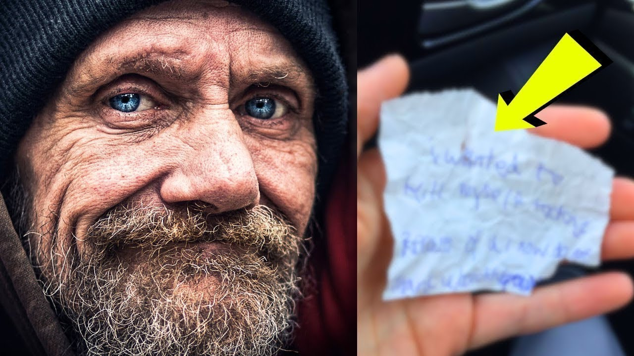 فتاة اشترت طعام لشخص فقير ، وبعد ساعه ، اعطاها ورقه جعلتها تبكي مما قرأته