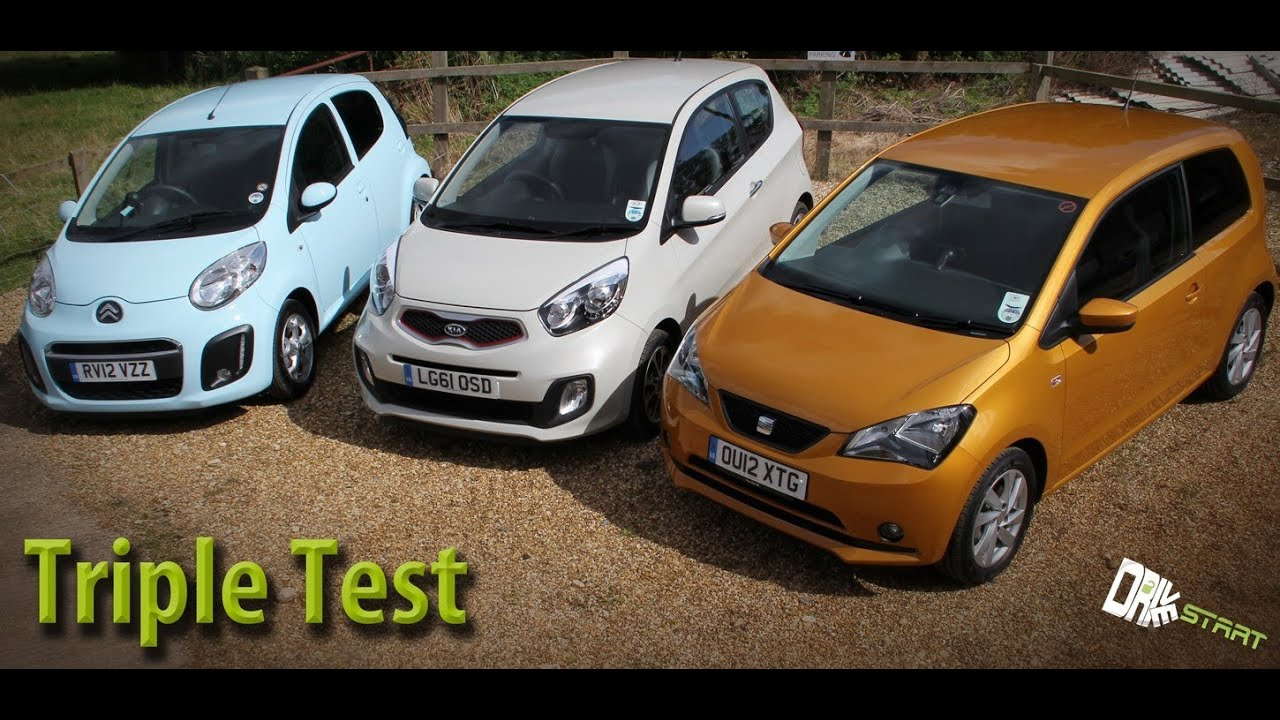 seat mii vs kia picanto vs citroen c1 review - drive start - youtube