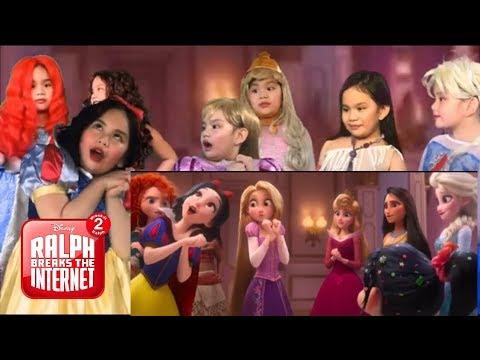 Ralph Breaks the Internet All Disney Princesses scene || 1 kid = all Disney Princesses! Ava Dazzle
