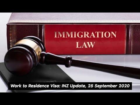 New Zealand - Work to Residence Visa: INZ Update 25 Sep 2020