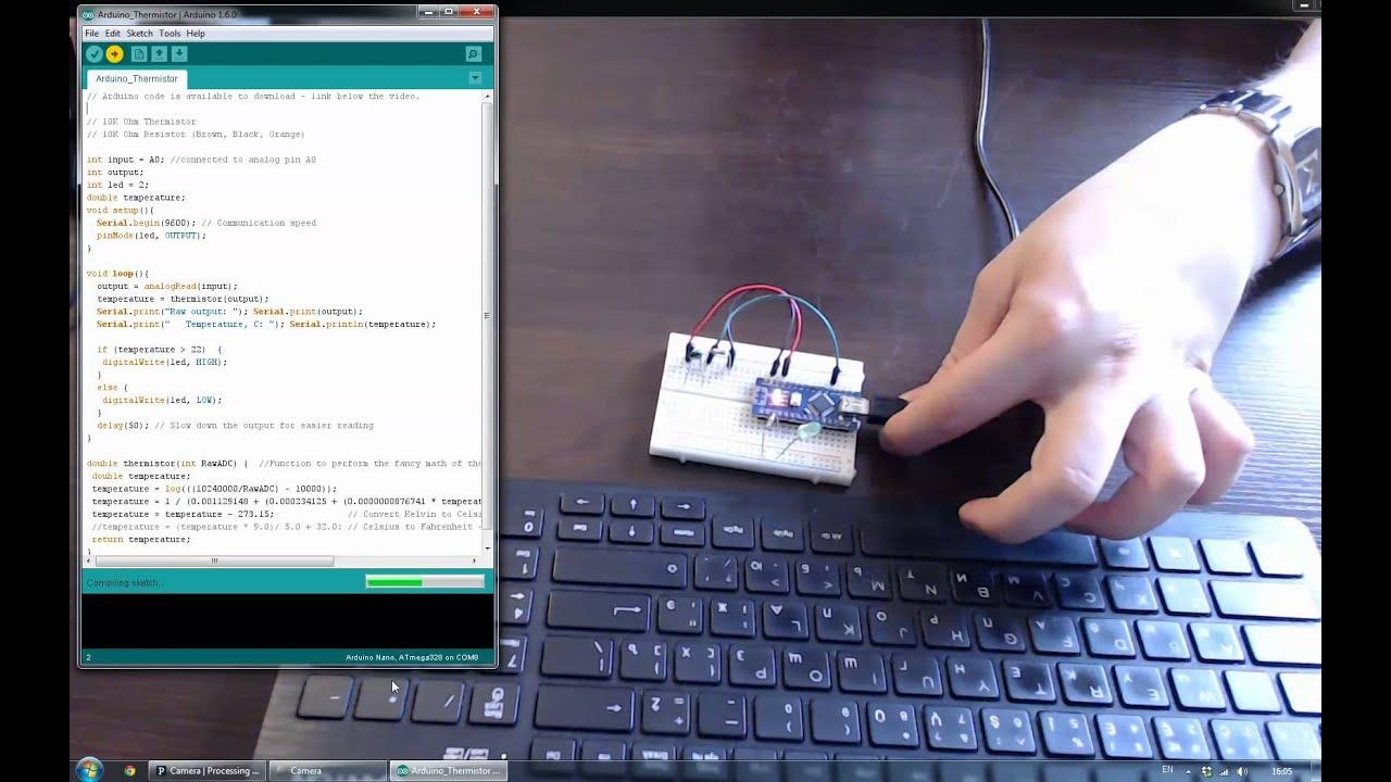 Arduino And 10 Kohm Thermistor Youtube 10k Circuit To