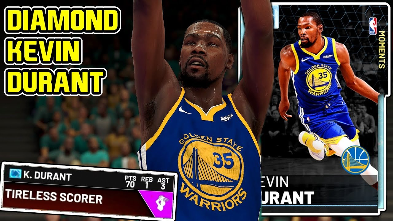 66727b620f2 DIAMOND KEVIN DURANT 70PT GAMEPLAY! THIS CARD DOENT MISS FROM THREE ...