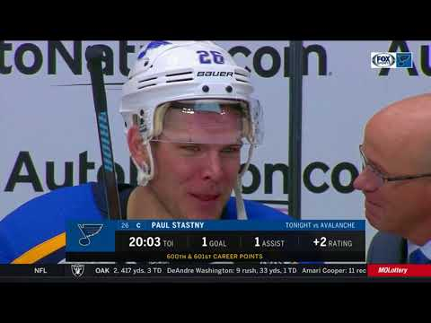 Paul Stastny on picking up his 600th point in Colorado