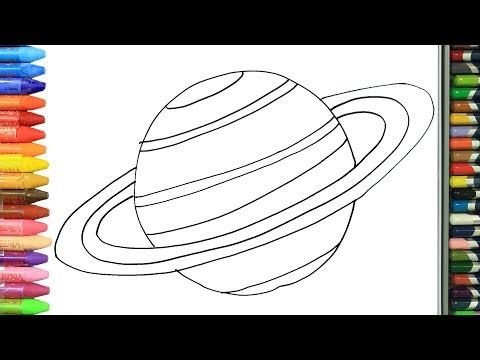 GEZEGEN SATÜRN nasıl yapılır nasıl çizilir   Boyama ve resim yapma videoları