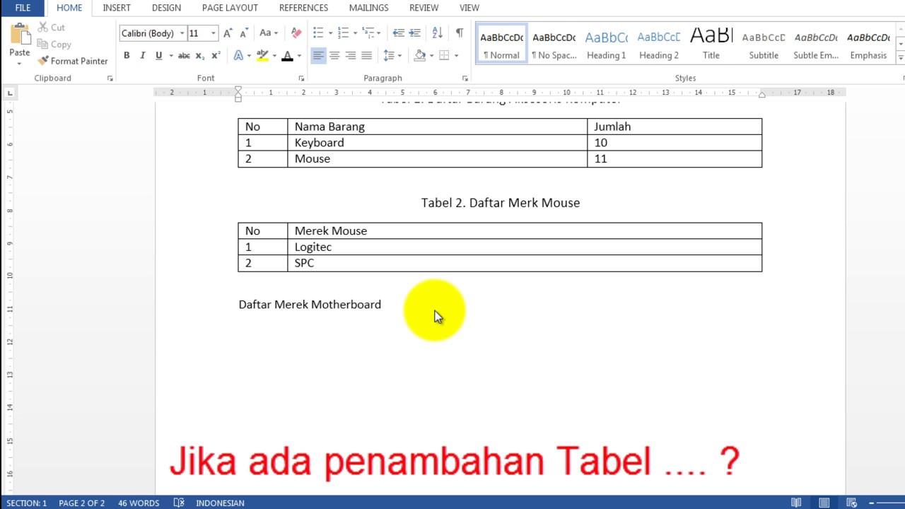 Cara Membuat Daftar Tabel Secara Otomatis Di Word 2013 - YouTube