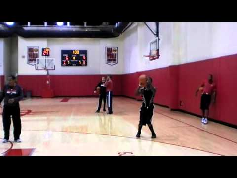 Terrence Williams in shooting drills with Kelvin Sampson