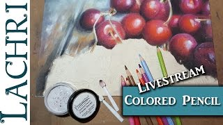 Real time  Drawing Cherries in Colored Pencil w/ Powder Blender