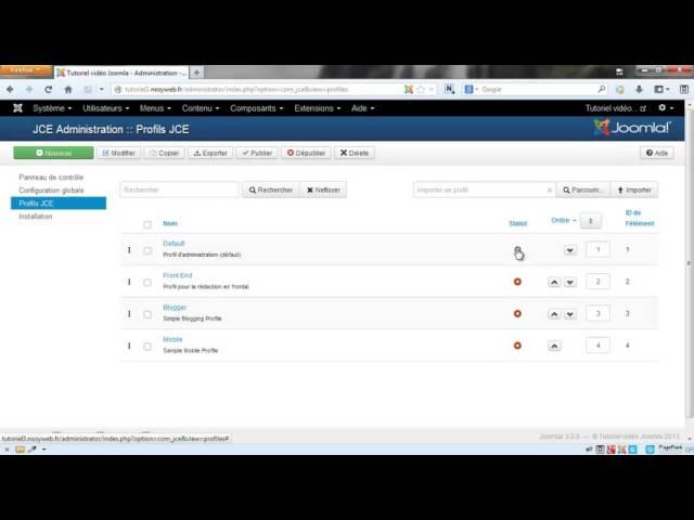 Joomla 3 - Configuration globale de la partie composant