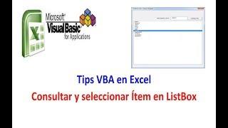 Tips VBA en Excel Consultar y Seleccionar en ListBox