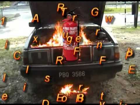 1kg ABC Dry Powder Fire Extinguisher on car fire