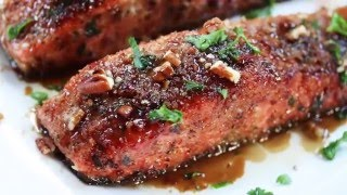 Pecan Crusted Salmon with Bacon Fat Maple Glaze