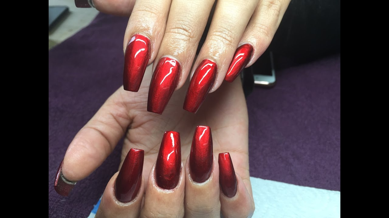 Acrylic Nails | Infill | Re-design | Metallic Red - YouTube