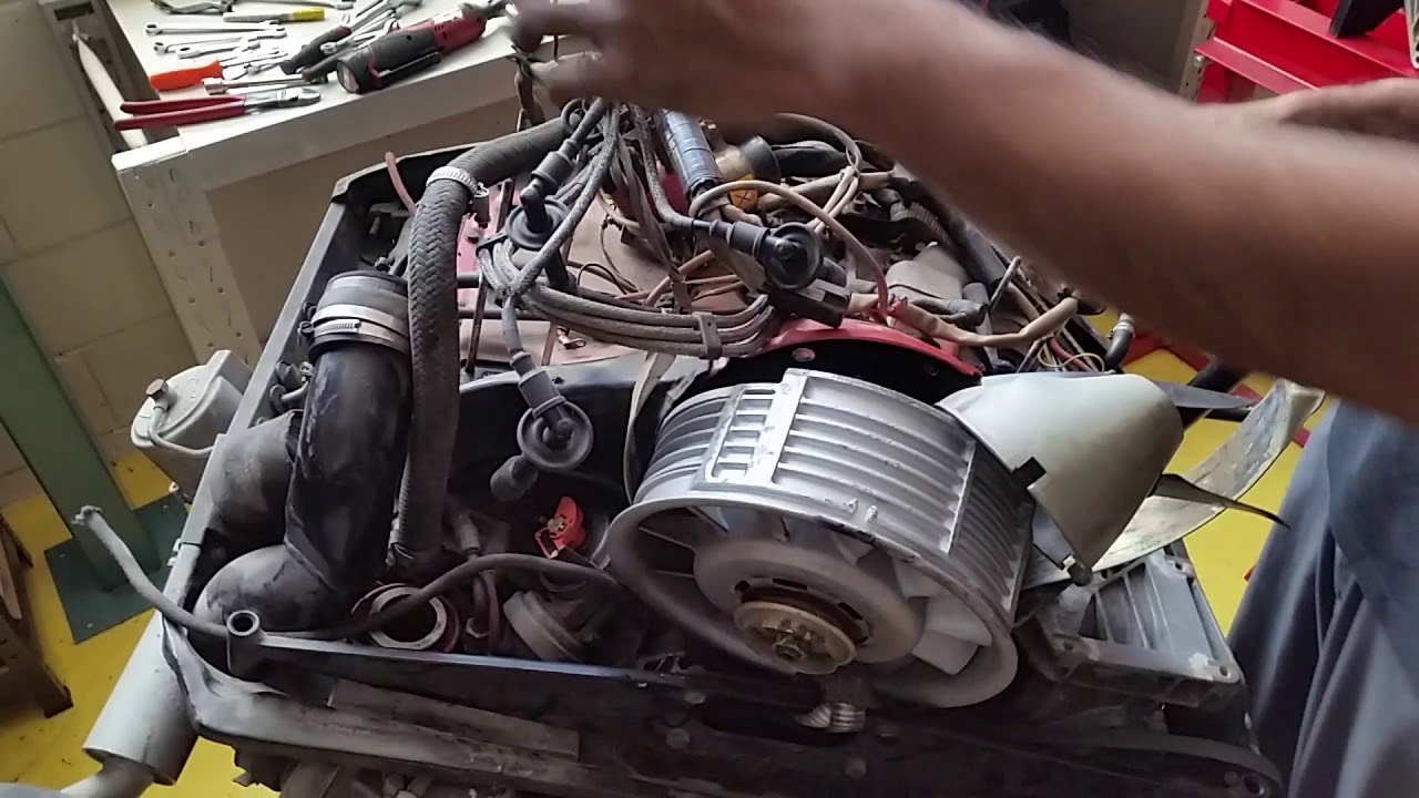 porsche 930 turbo engine rebuild part2- removing wiring harness & fan