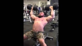 Eddie hall 60kg shoulder press. (Constant pressure techniqu