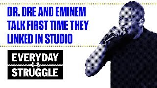 Video Dr. Dre and Eminem Talk First Time They Linked in Studio download MP3, 3GP, MP4, WEBM, AVI, FLV Juli 2018
