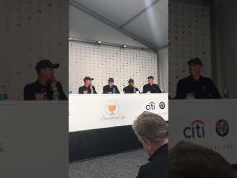 Matt Kuchar runs the first five minutes of Team USA's Presidents Cup press conference