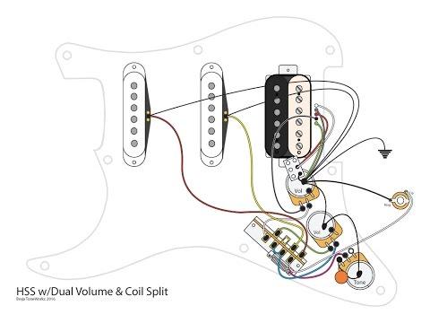 HSS Guitar w/Dual Volumes, Master Tone and Coil Split - YouTube on split coil transformer, coil tap diagram, split p 90 pickups wiring, split door, volume one humbucker diagram,