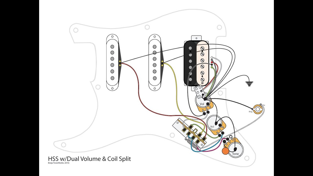 maxresdefault hss guitar w dual volumes, master tone and coil split youtube hss strat wiring diagram 1 volume 2 tone at reclaimingppi.co