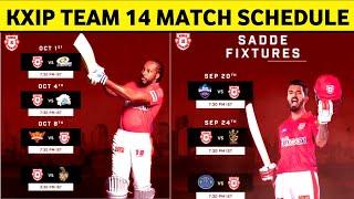 Kings XI Panjab All 14 Match Schedule 2020 || KXIP FULL SCHEDULE IPL 2020
