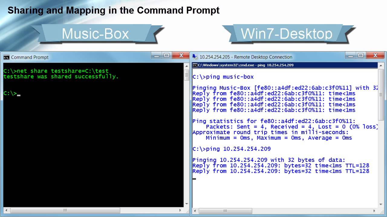 Sharing and Mapping in the Command Prompt  YouTube