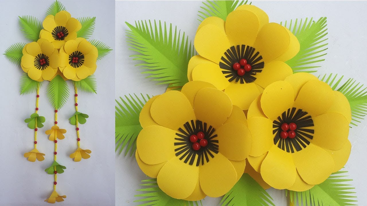 DIY: Beautiful Wall Hanging!!! How to Make Paper Flower ...