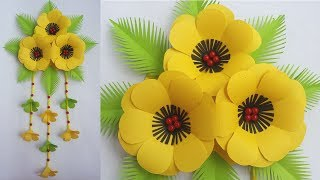 DIY: Beautiful Wall Hanging!!! How to  Make Paper Flower Wall Hanging for Home / Room Decorations!!!