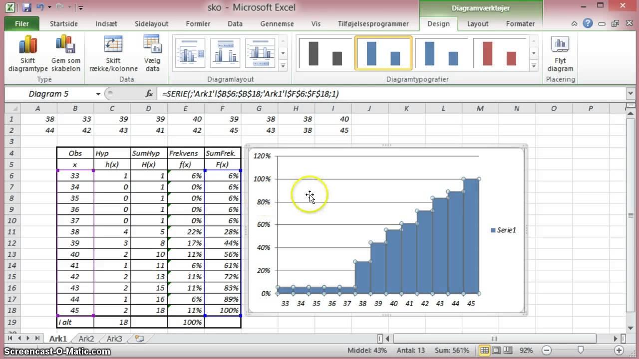 Statistik - Excel - Trappediagram