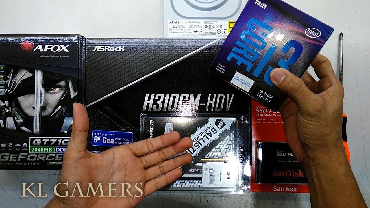 intel Core i3 9100F ASRock H310CM HDV Sandisk SSD PLUS Crucial BALLISTIX SPORT AFOX GT710 Build - YouTube