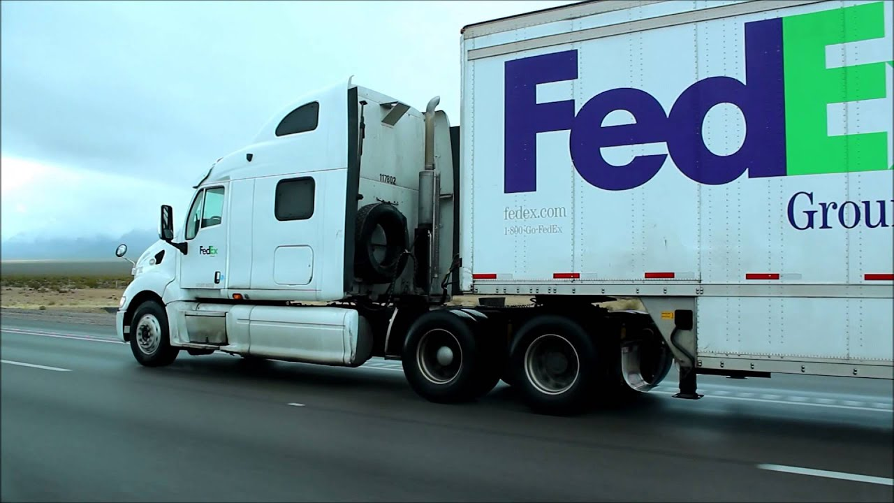 Peterbilt Fed Ex Ground truck pulling doubles on I-15 southbound ...