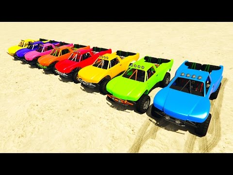 COLOR OFFROAD CARS Jump on ramp! Cartoon 3D animation for kids.