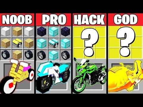 Minecraft Battle: EPIC MOTORCYCLE CRAFTING CHALLENGE - NOOB vs PRO vs HACKER vs GOD ~ Animation