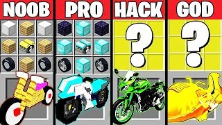 Minecraft Battle: EPIC MOTORCYCLE CRAFTING CHALLENGE - NOOB vs PRO vs HACKER vs GOD ~ Animation