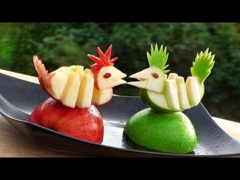 How to make carrot onion cucumber flowers vegetable c for Apple fruit decoration