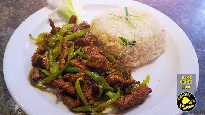 How To Make Chinese Dry Chili Beef Garlic Rice Recipe With Pakistani Touch Youtube
