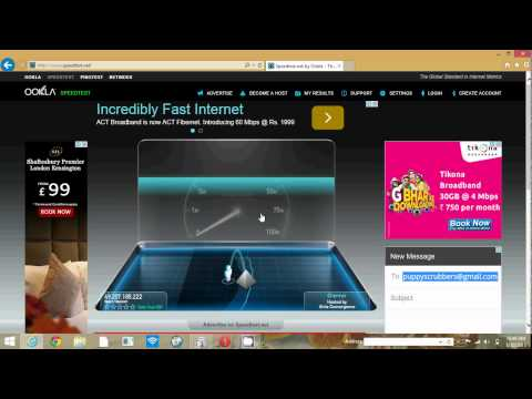 speed test of act broadband (isp) chennai 20 mbps plan rs 999
