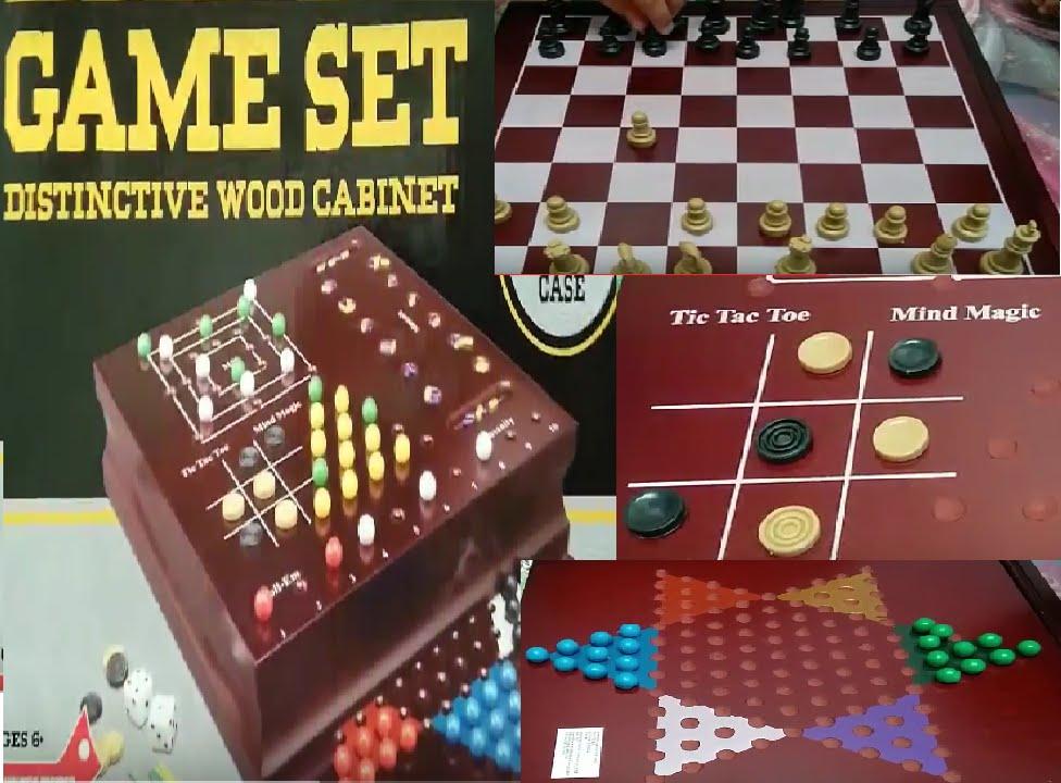 Family 10 Game Set Chess Tic Tac Toe Checker Backgammon Mind