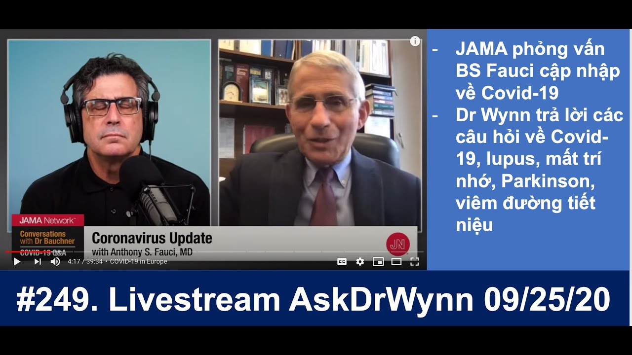 Livestream AskDrWynn/Covid-19 chiều thứ Sáu mỗi tuần 09/25/2020