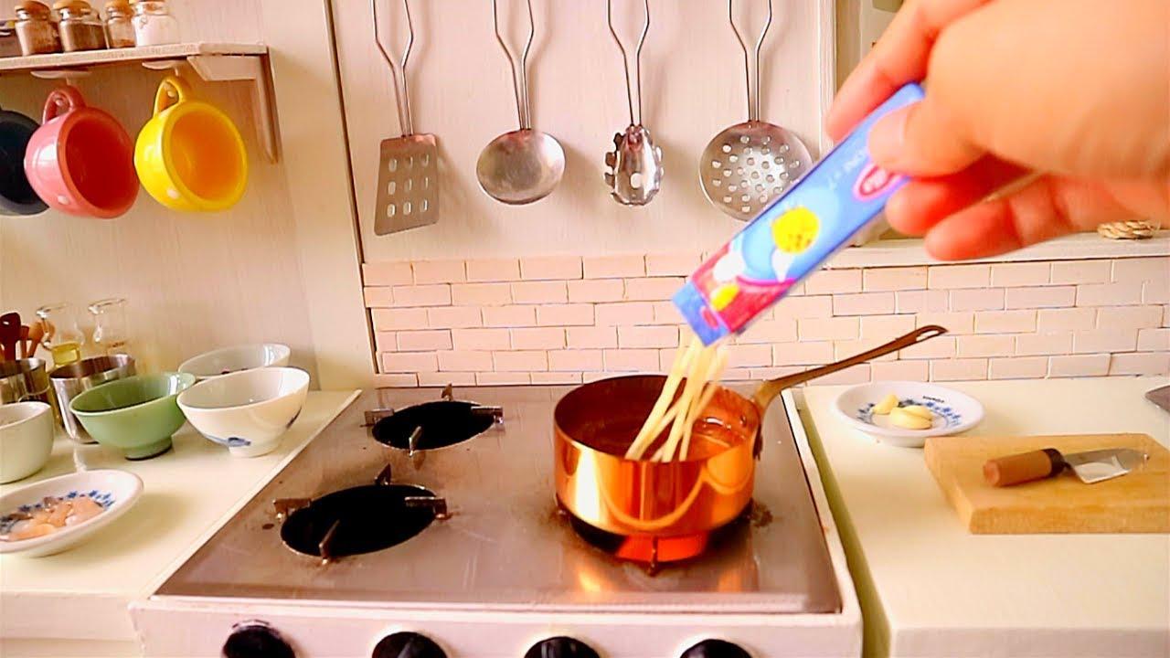 MINIATURE REAL FOOD SHRIMP & CHORIZO PASTA RECIPE |ASMR COOKING | REAL  KITCHEN SET TOY