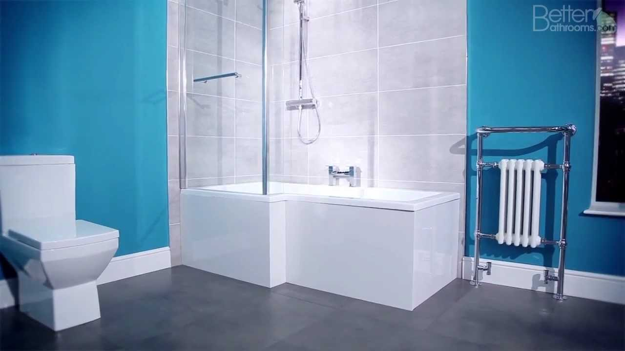1700mm L Shaped Square Shower Bath - YouTube