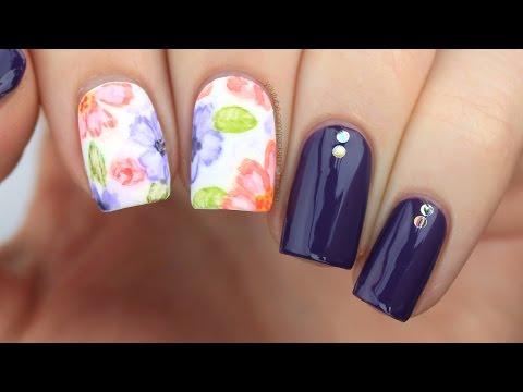 Watercolor Floral Nail Art Tutorial thumbnail