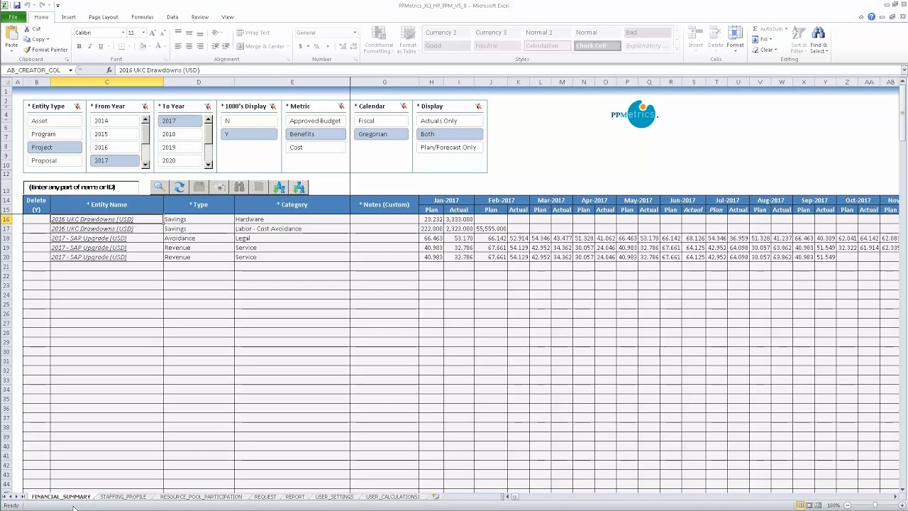 Excel Interface (XLI) - Staffing Profile Costs, Financial Benefits
