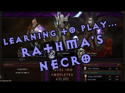 Diablo III Gameplay - Learning to play Rathma's Necro (3-man GR 100)